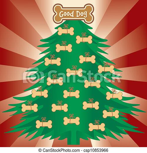 bon, arbre noël, chiens - csp10853966