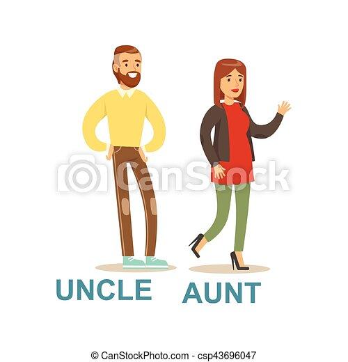 bon famille illustration oncle ensemble temps tante
