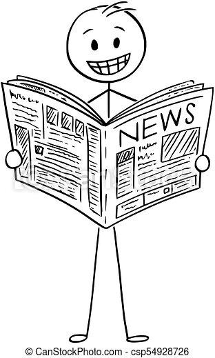 Bon, homme affaires, journal, nouvelles, sourire, lecture, dessin animé.  Bon, illustration, dessin, homme affaires, homme