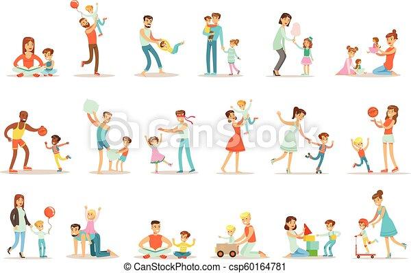 bon, pères, apprécier, aimer, leur, ensemble, temps, illustrations, jouer, papa, qualité, enfants, dessin animé, heureux - csp60164781