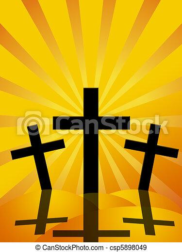 bon, soleil, vendredi, rayons, croix, fond, paques, jour - csp5898049