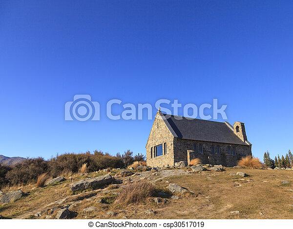 bon, tekapo, lac, zealand., église, nouveau, berger - csp30517019