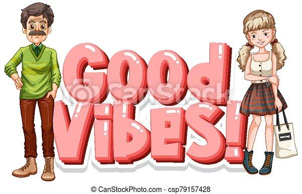 bon, vibes, mot, gens, conception, police, heureux - csp79157428