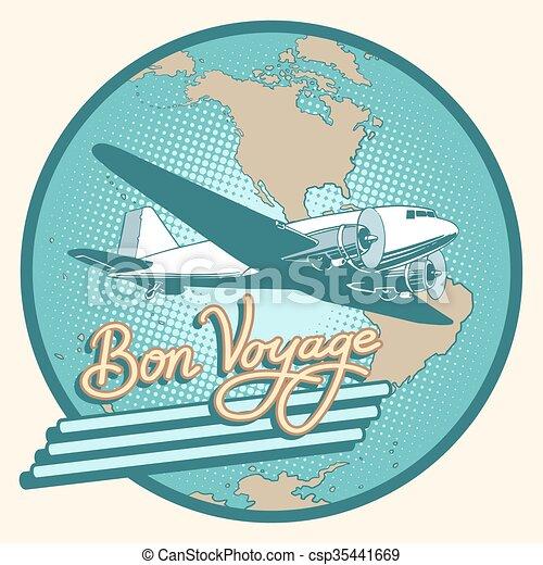 Bon voyage abstract retro plane poster - csp35441669