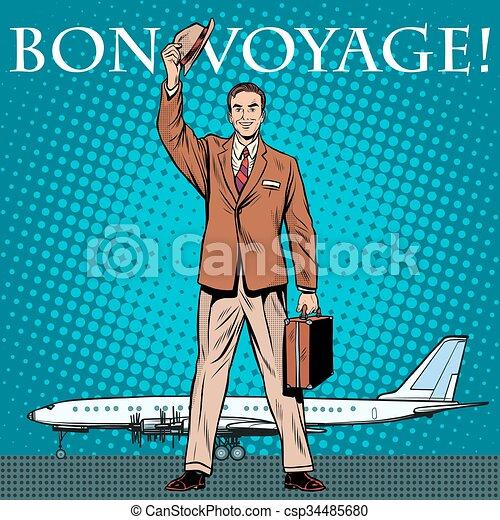 Bon voyage businessman passenger airport - csp34485680