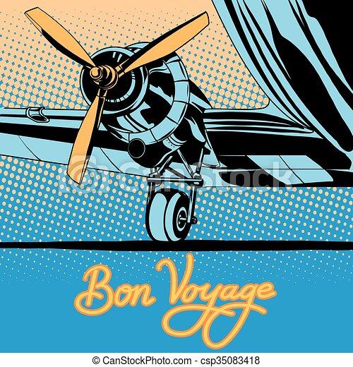Bon voyage retro travel airplane poster - csp35083418