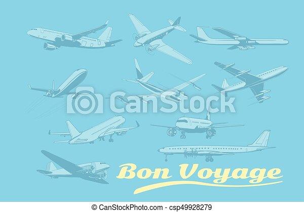 Bon voyage, set of aircraft air transport - csp49928279