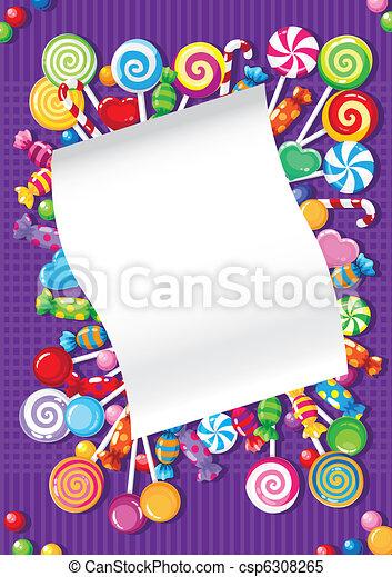 bonbons, bonbon, carte - csp6308265