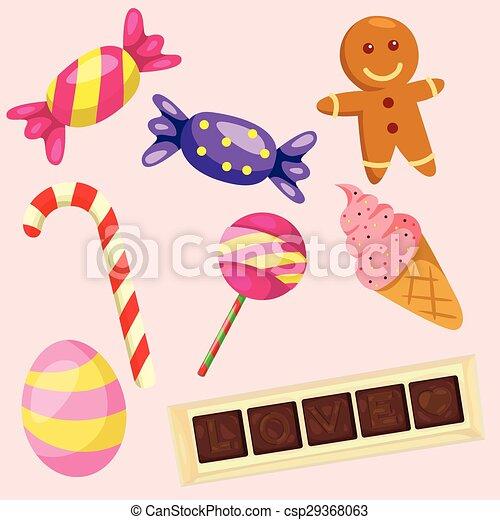 bonbons, ensemble, illustrateur - csp29368063