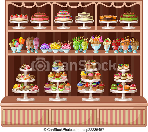 Bonbons vecteur magasin bakery illustration image - Dessin boulangerie patisserie ...