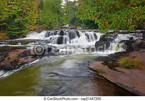 Bond Falls Waterfall in Michigan - csp21447205