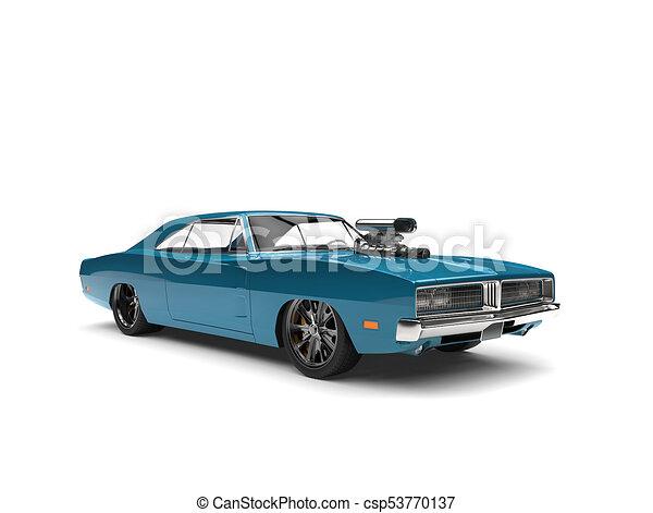Bondi Blue Vintage American Muscle Car