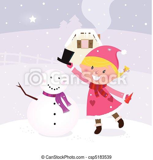 boneco neve, cute, menina, fazer - csp5183539