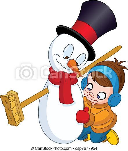 boneco neve, menino, fazer - csp7677954