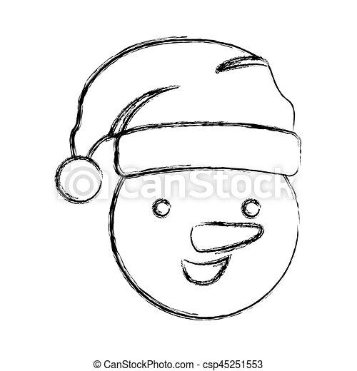 Boneco Neve Natal Silueta Obscurecido Desenho Rosto