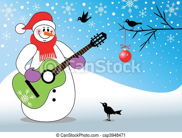 boneco neve, violão jogando - csp3948471