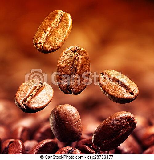 bonen, koffie, closeup - csp28733177