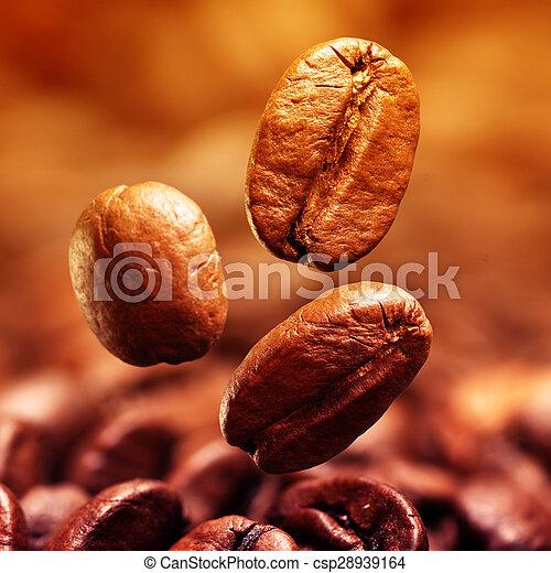 bonen, koffie, closeup - csp28939164