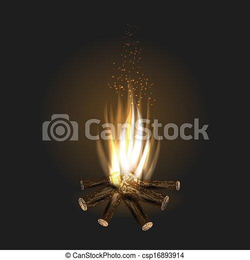 bonfire on black background - csp16893914