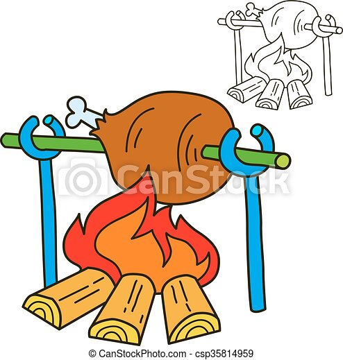 Bonfire With Grilled Beef Coloring Book Page Cartoon Vector