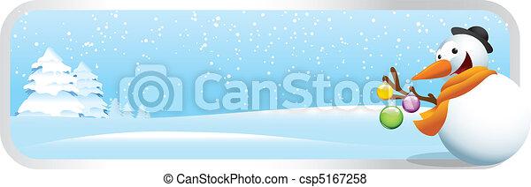 bonhomme de neige, bannière, noël, dessin animé - csp5167258