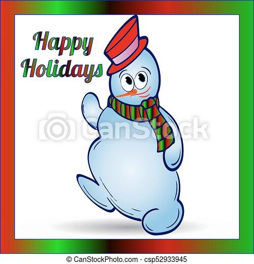 Bonhomme De Neige Cadre Couleur Noël Gai Gradient Fond Blanc écharpe Chapeau Dessin Animé