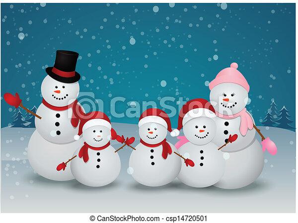 Bonhomme De Neige Carte Noël Famille Bonhomme De Neige Hiver