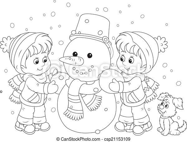 bonhomme de neige, confection, enfants - csp21153109