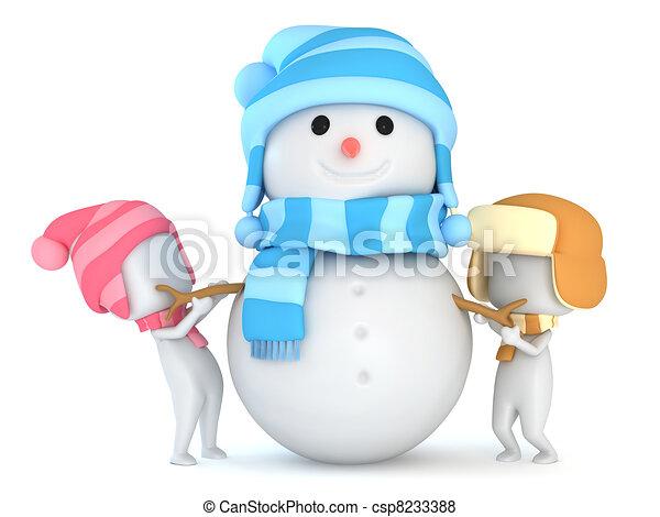 bonhomme de neige, confection, gosses - csp8233388