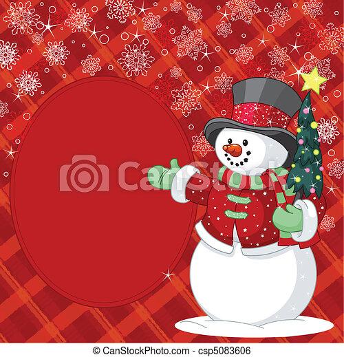 bonhomme de neige, endroit, arbre, noël - csp5083606