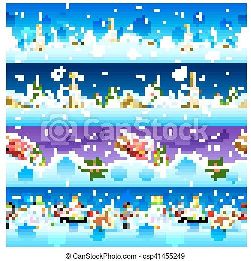 bonhomme de neige, fond, seamless, santa, vacances, noël - csp41455249