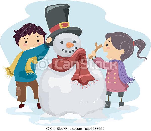 bonhomme de neige, gosses, confection - csp8233652