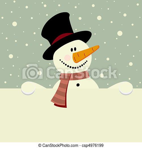 bonhomme de neige, heureux - csp4976199