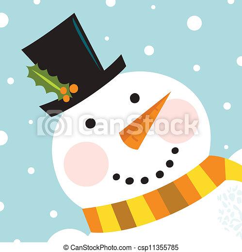bonhomme de neige, heureux, neiger, fond, mignon, figure - csp11355785
