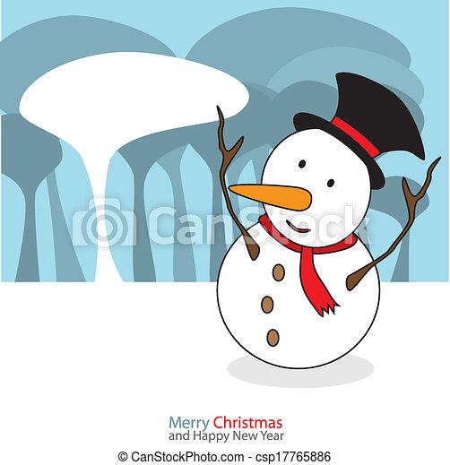 bonhomme de neige, illustration., noël, vecteur, fond, nuit, jour - csp17765886
