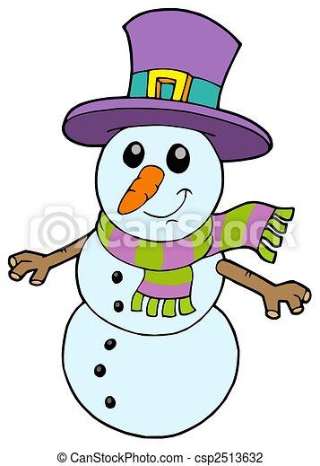 Bonhomme de neige mignon dessin anim bonhomme de neige mignon illustration isol - Clipart bonhomme de neige ...