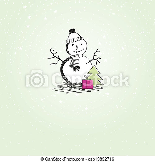 bonhomme de neige, mignon, noël carte, vendange - csp13832716