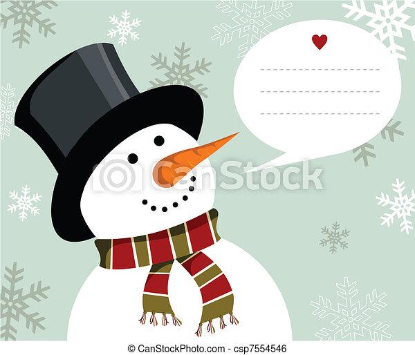 bonhomme de neige, noël, card. - csp7554546