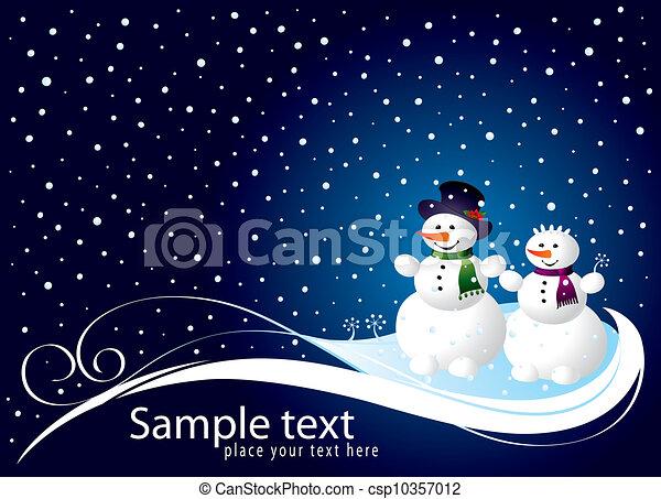 bonhomme de neige, noël carte - csp10357012