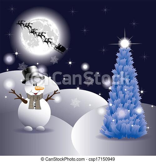 bonhomme de neige, noël, nuit - csp17150949