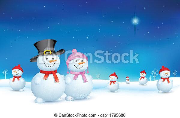 bonhomme de neige, noël - csp11795680