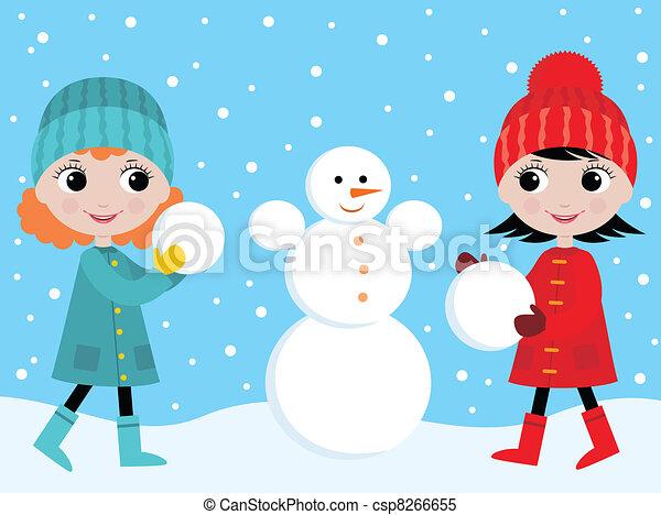 bonhomme de neige, petites filles, construire - csp8266655