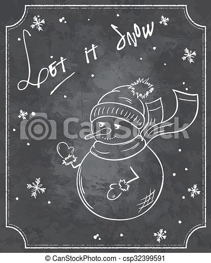 Bonhomme De Neige Rigolote Style Flocons Neige Citation Illustration Vecteur Tableau Noël