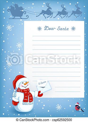 Bonhomme De Neige Rigolote Voler Père Noël Ciel Dessin Animé Renne Lettre équipe Traîneau Noël