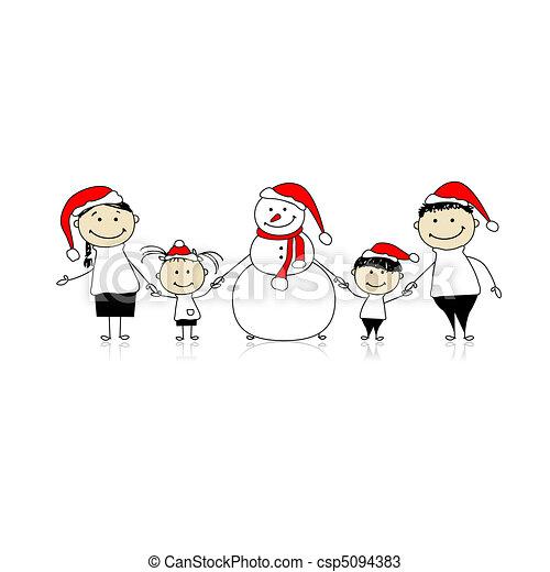 bonhomme de neige, vacances, noël, famille, heureux - csp5094383