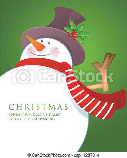 bonhomme de neige, wiht, noël, écharpe, rouges - csp11287814