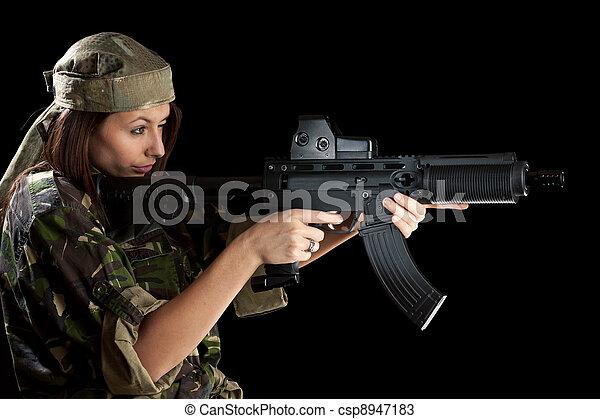 bonito, ação, mulher, pose - csp8947183