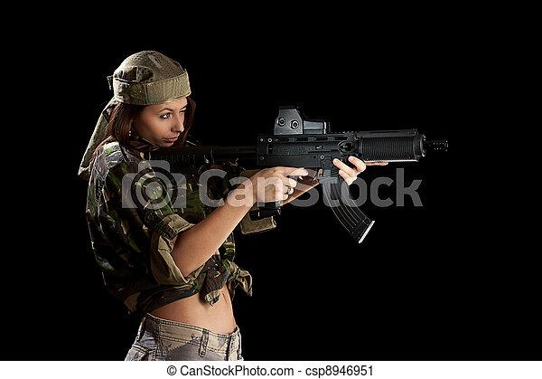 bonito, ação, mulher, pose - csp8946951