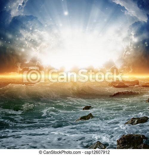 bonito, amanhecer, mar - csp12607912