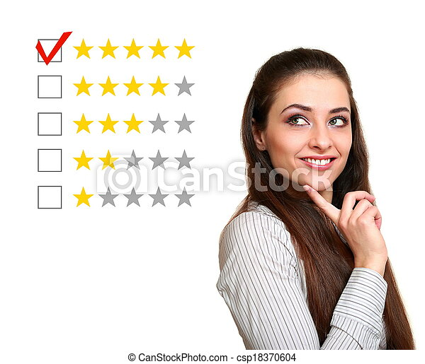 bonito, avaliação, bom, mulher, cinco, escolher, estrelas, feedback., resultado - csp18370604